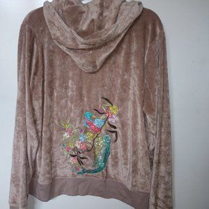 BCBG Velvet HOODIE TAN/NUDE embroidered sequins
